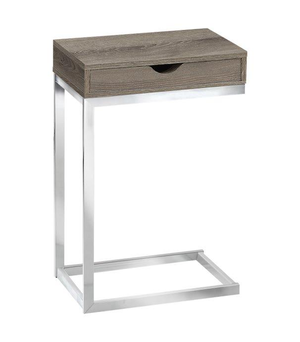 Table d'appoint - metal chrome / taupe fonce et tiroir