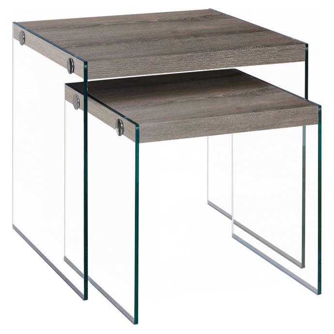 Tables gigognes - ens. 2pcs / taupe fonce / verre trempe