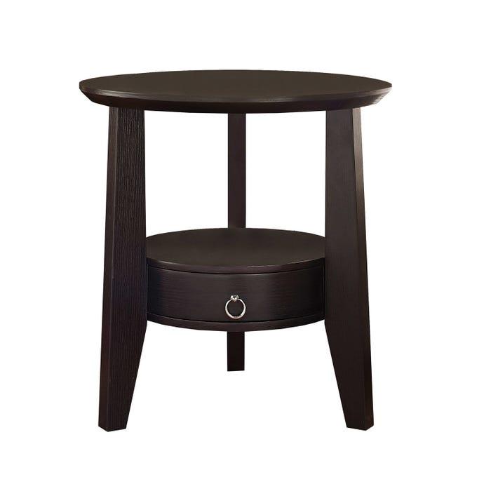 "Table d'appoint - 23""dia / cappuccino avec 1 tiroir"