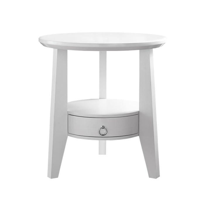 "Table d'appoint - 23""dia / blanc avec 1 tiroir"
