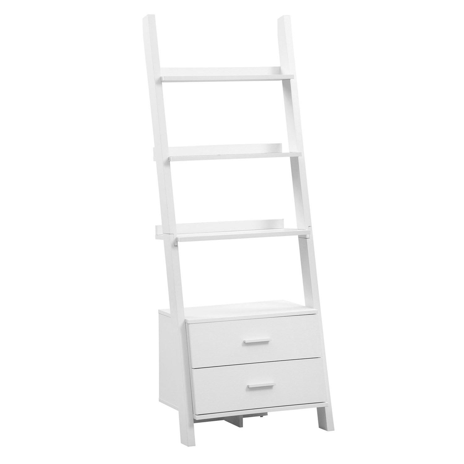 Bookcase 69 H White Ladder With 2 Storage Drawers
