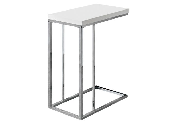 Table d'appoint - blanc lustre / metal chrome