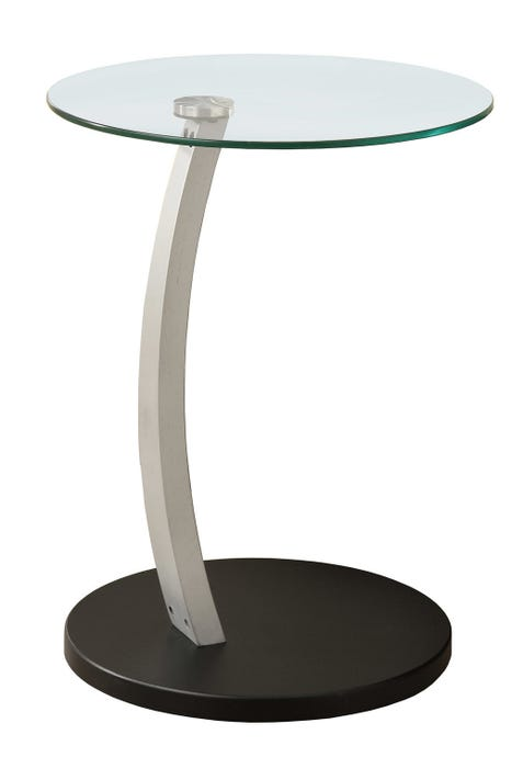 ACCENT TABLE - BLACK / SILVER BENTWOOD W/ TEMPERED GLASS