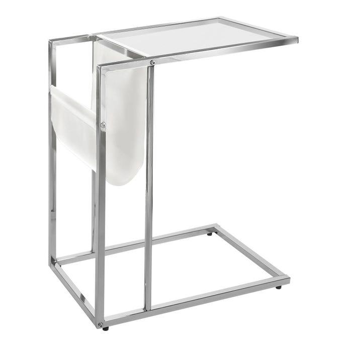 Table d'appoint - blanc / chrome avec support magazine