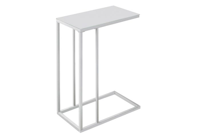 Table d'appoint - metal blanc / verre trempe givre