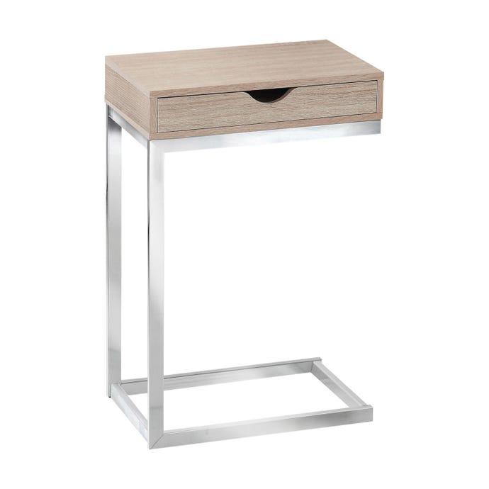 Table d'appoint - metal chrome / naturel et tiroir