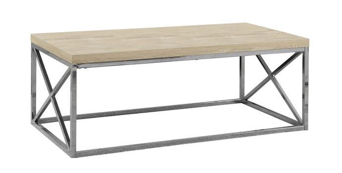Table de salon - bois naturel avec metal chrome