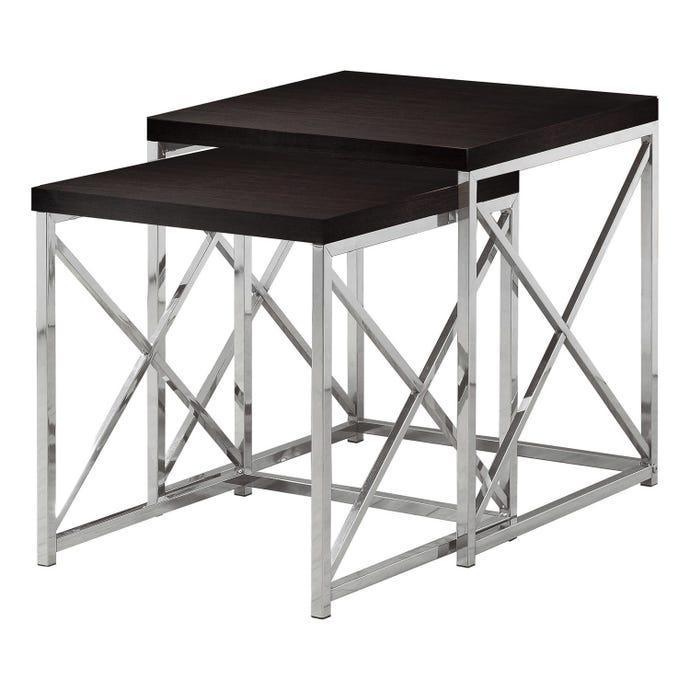 Tables gigognes - ens. 2pcs / cappuccino / metal chrome