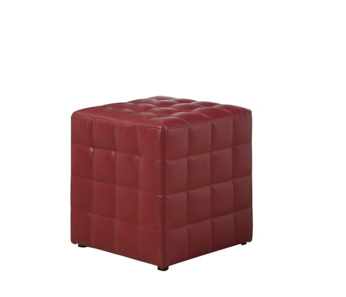 Pouf - simili-cuir rouge