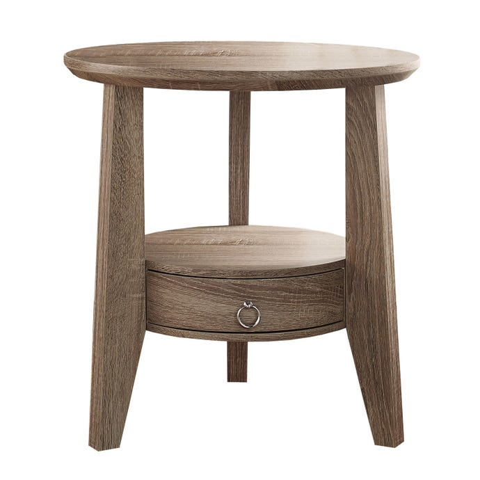 "ACCENT TABLE - 23""DIA / DARK TAUPE WITH 1 DRAWER"