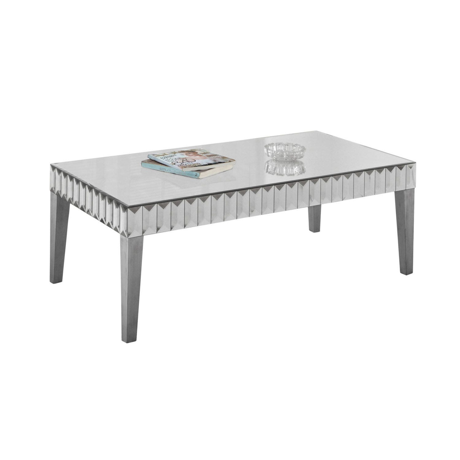 Coffee Table 48x 24 Brushed Silver Mirror