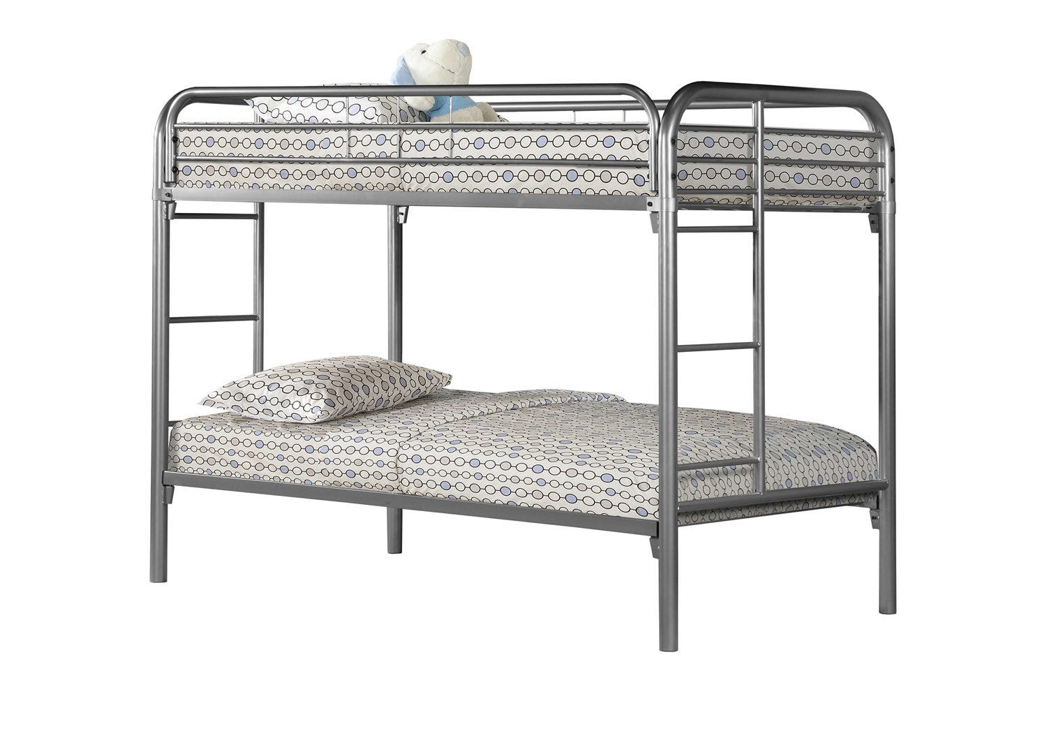Picture of: Bunk Bed Twin Twin Size Silver Metal Rd Furniture