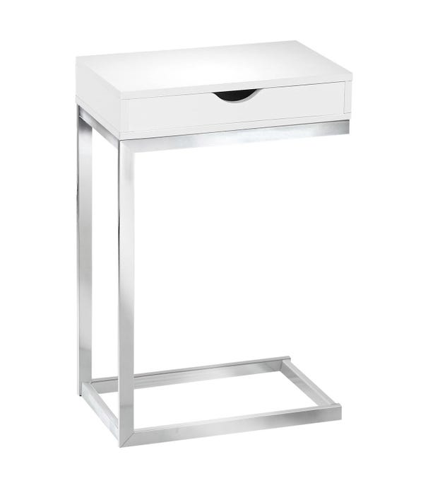 ACCENT TABLE - CHROME METAL / GLOSSY WHITE WITH A DRAWER