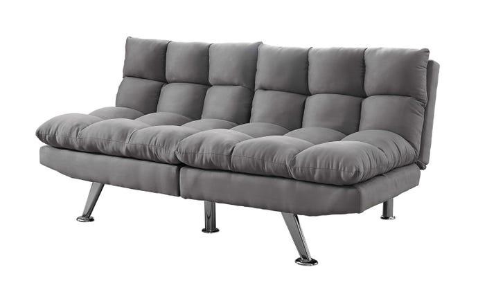 Futon Sofa Convertible Dossier Separe Micro Suede Gris Meubles Rd