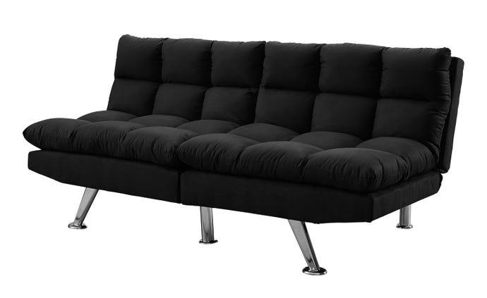 Futon Sofa Convertible Dossier Separe Micro Suede Noir Meubles Rd