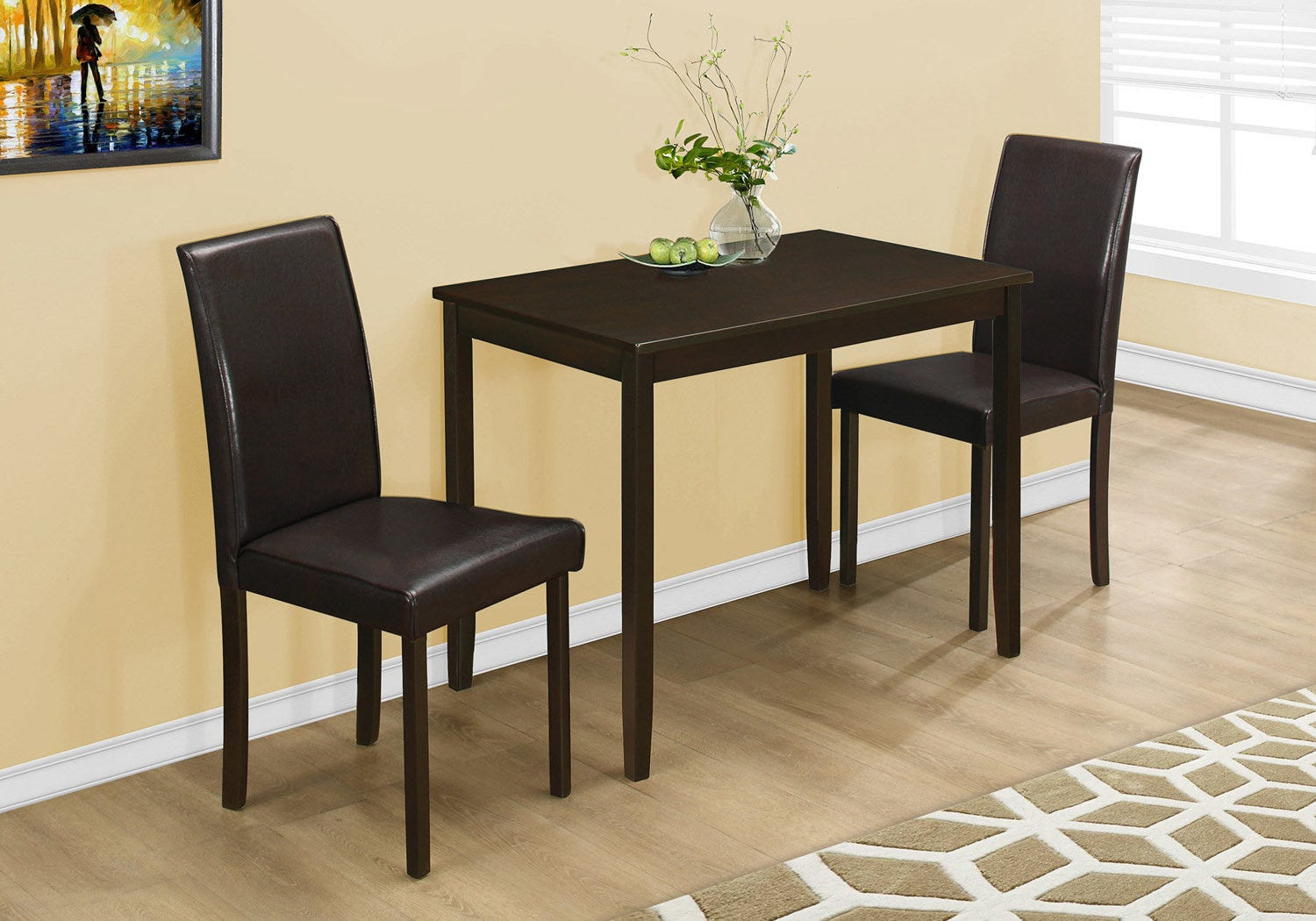 Dining Set 3pcs Set Cappuccino Brown Parson Chairs