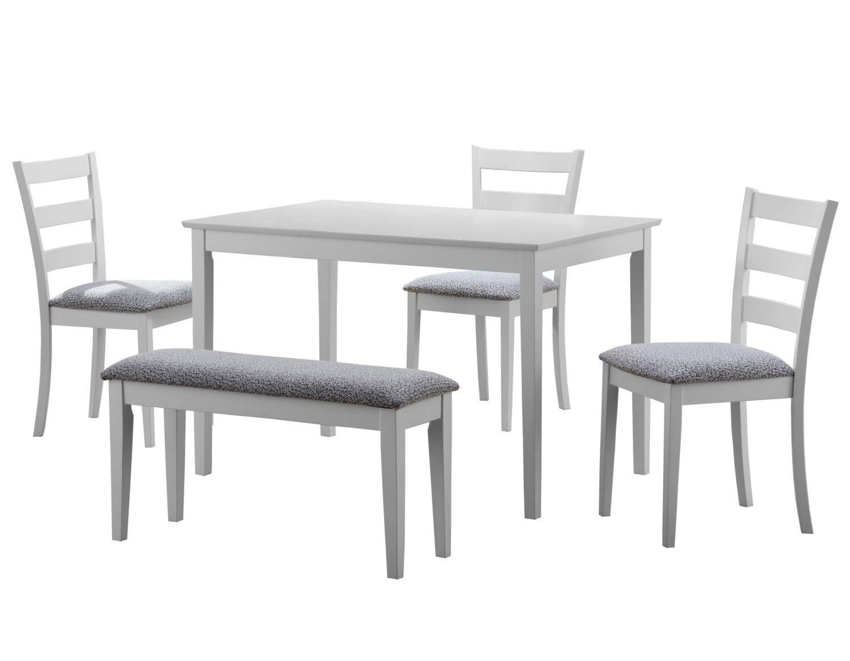 Table Pour Salle À Manger ens salle a manger - 5pcs / blanc avec banc et 3 chaises