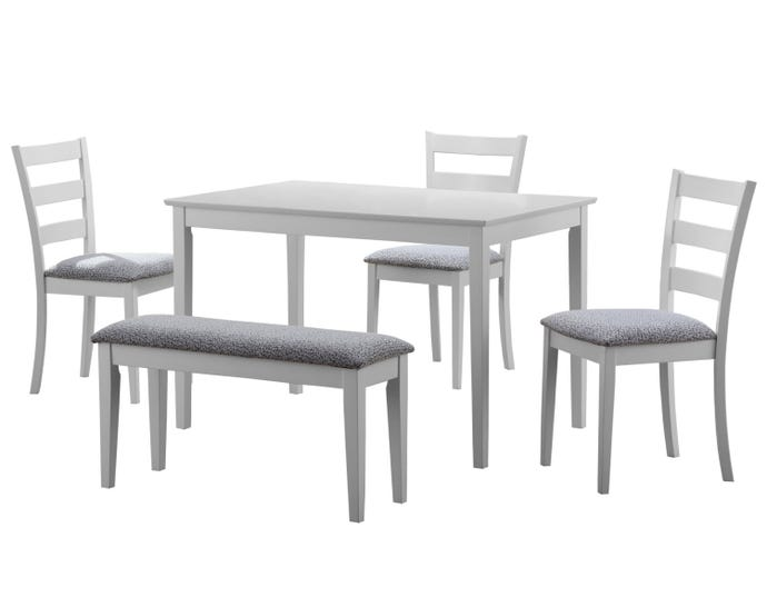 Dining Set 5pcs Set White Bench And 3 Side Chairs Rd Furniture
