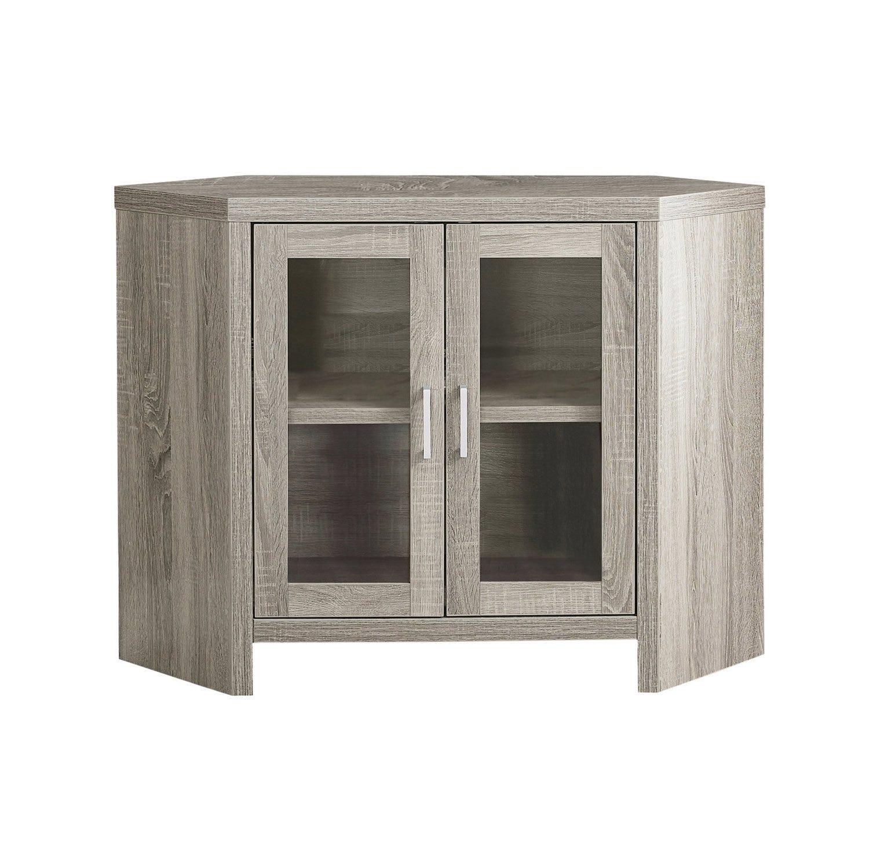 """Meuble Tv Pour Coin meuble tv - 42""""l / en coin taupe fonce et portes vitres"""