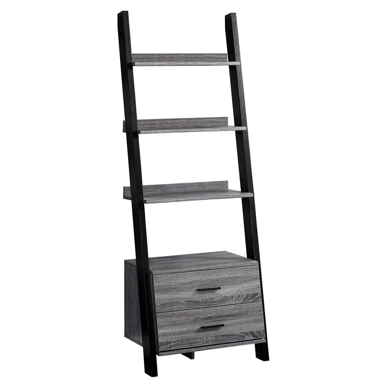 Bookcase 69 H Grey Black Ladder With 2 Storage Drawer