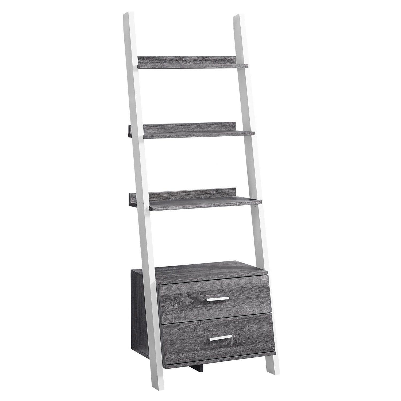Bookcase 69 H Grey White Ladder With 2 Storage Drawer