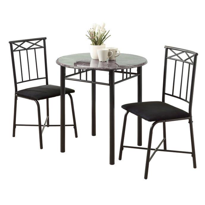 DINING SET - 3PCS SET / GREY MARBLE / CHARCOAL METAL