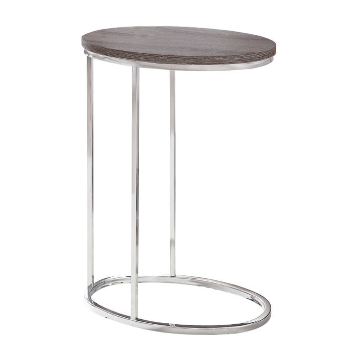 ACCENT TABLE - OVAL / DARK TAUPE WITH CHROME METAL
