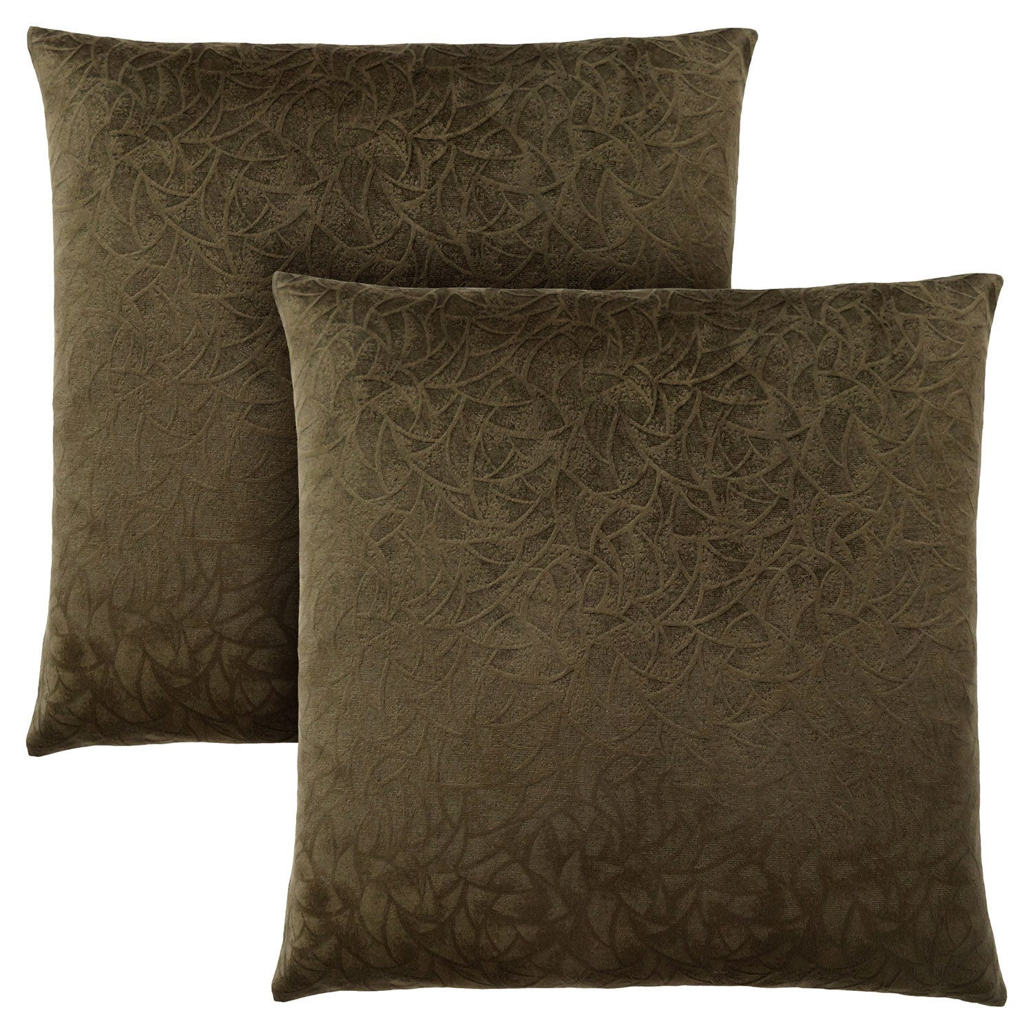 Pillow 18 X 18 Dark Green Floral Velvet 2pcs