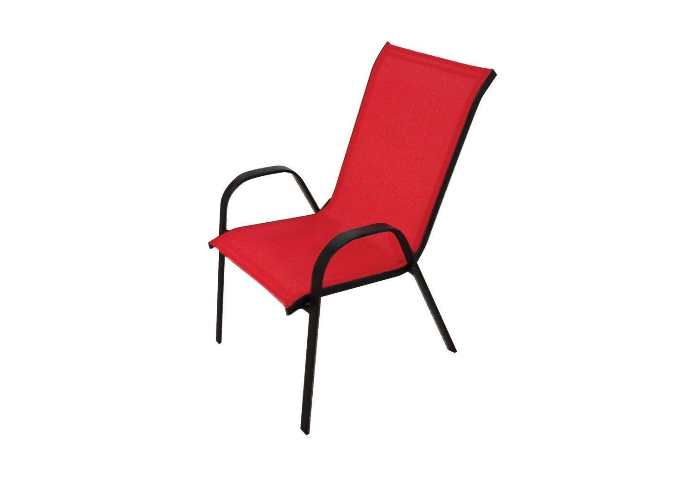 chaise metal noir textilene rouge