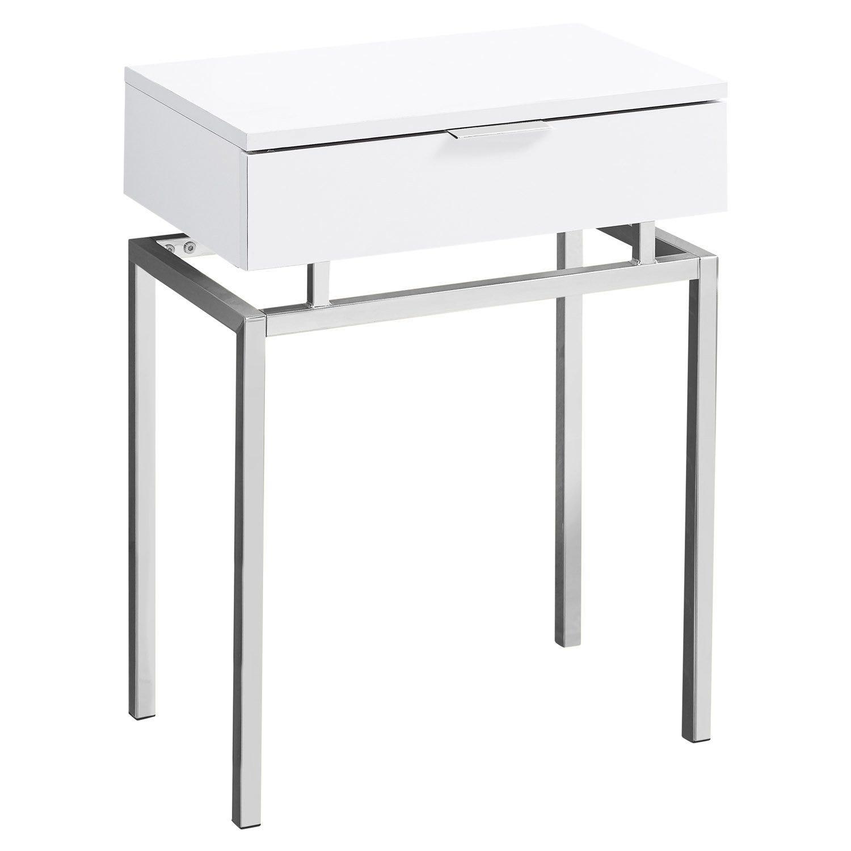 "Table dappoint - 6""h / blanc lustre / metal chrome"