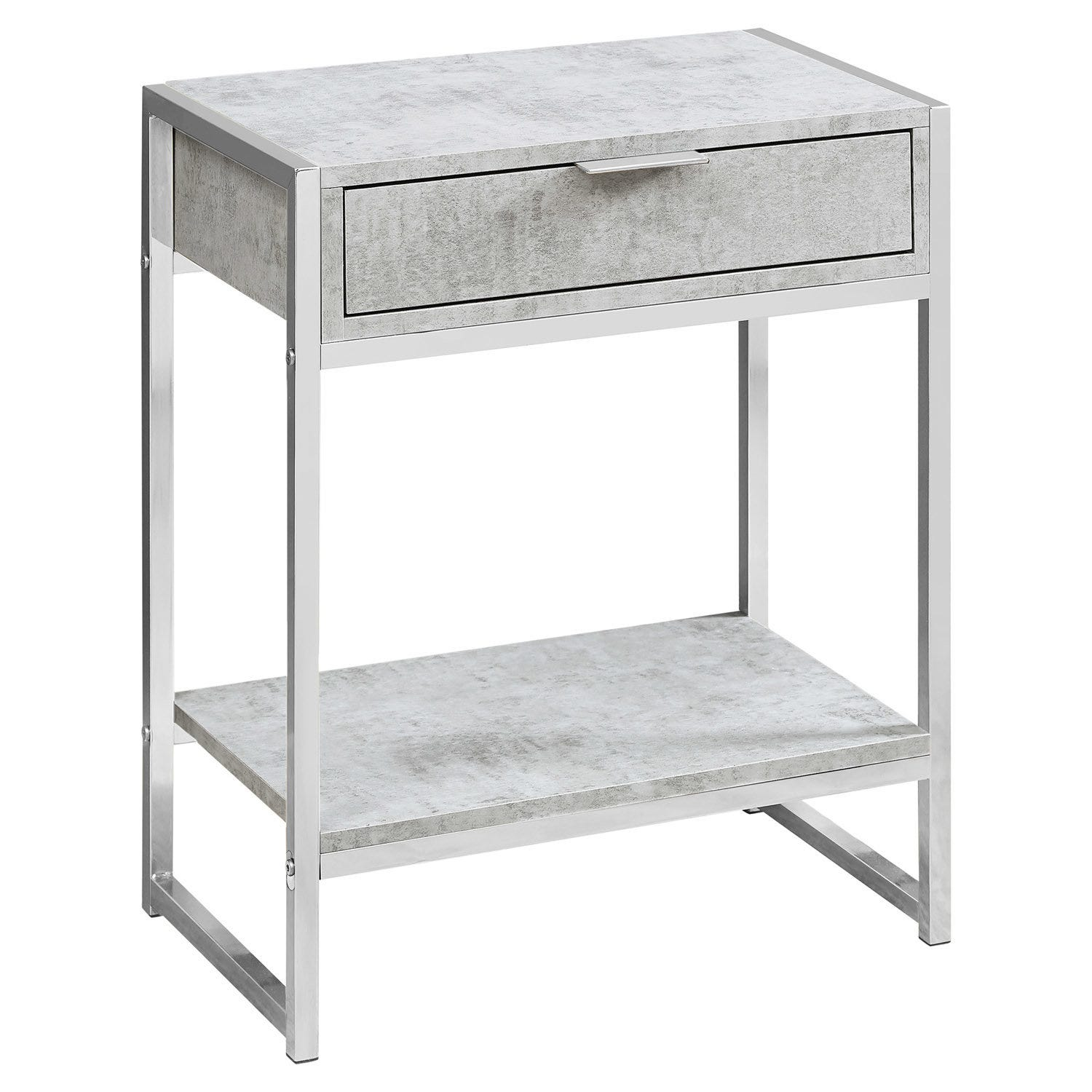 Accent Table 24 H Grey Cement Chrome Metal