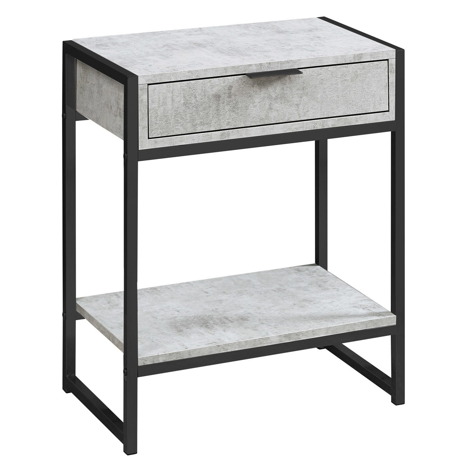 Accent Table 24 H Grey Cement Black Nickel Metal