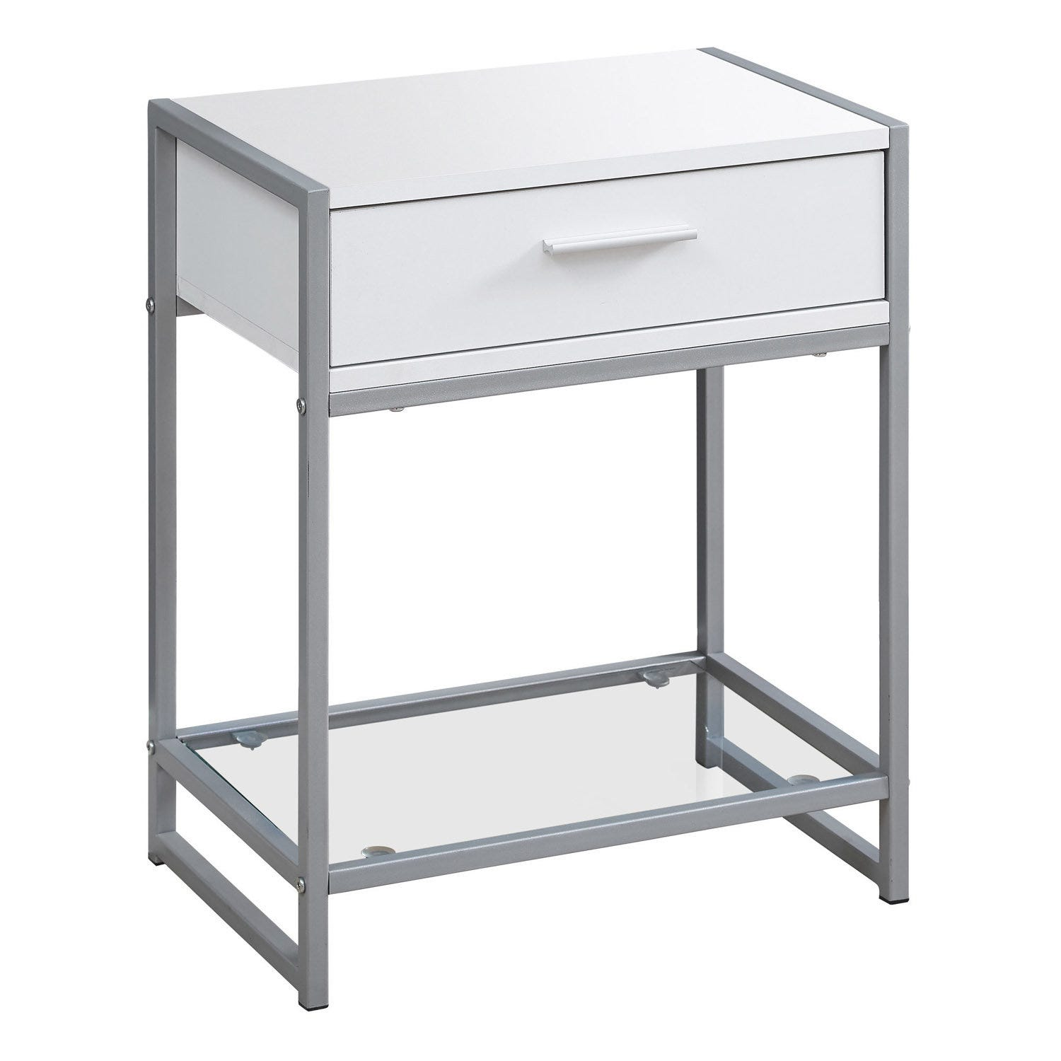 Accent Table 22 H White Silver Metal Tempered Glass