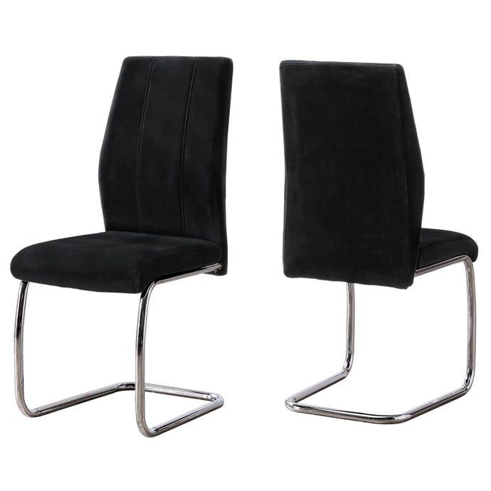 """Chaise - 2pcs / 39"""" h / velour noir / chrome"""