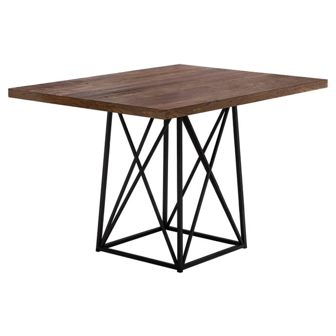 """Table a manger - 36"""" x 48"""""""" / faux bois brun / metal noir"""