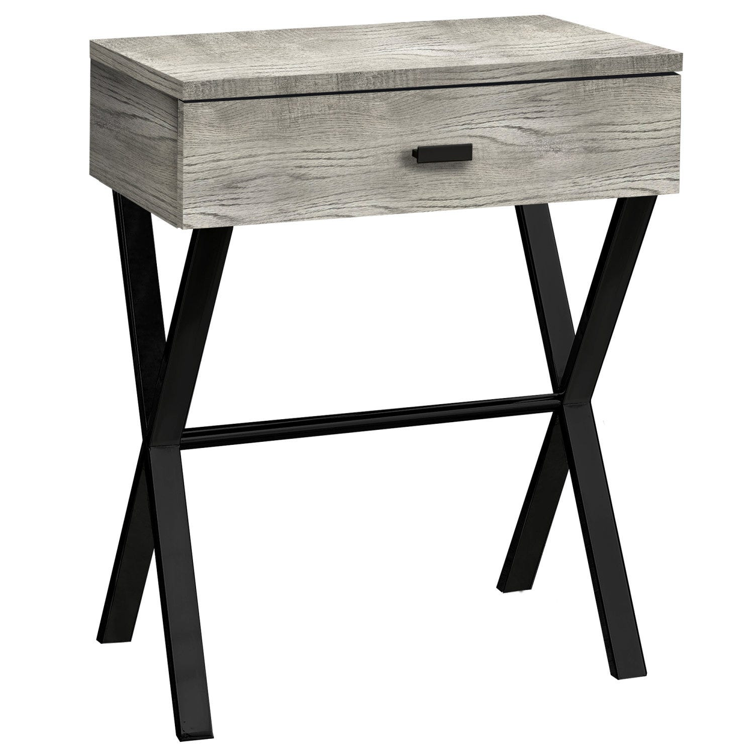 Accent Table 24 H Grey Reclaimed Wood Black Metal