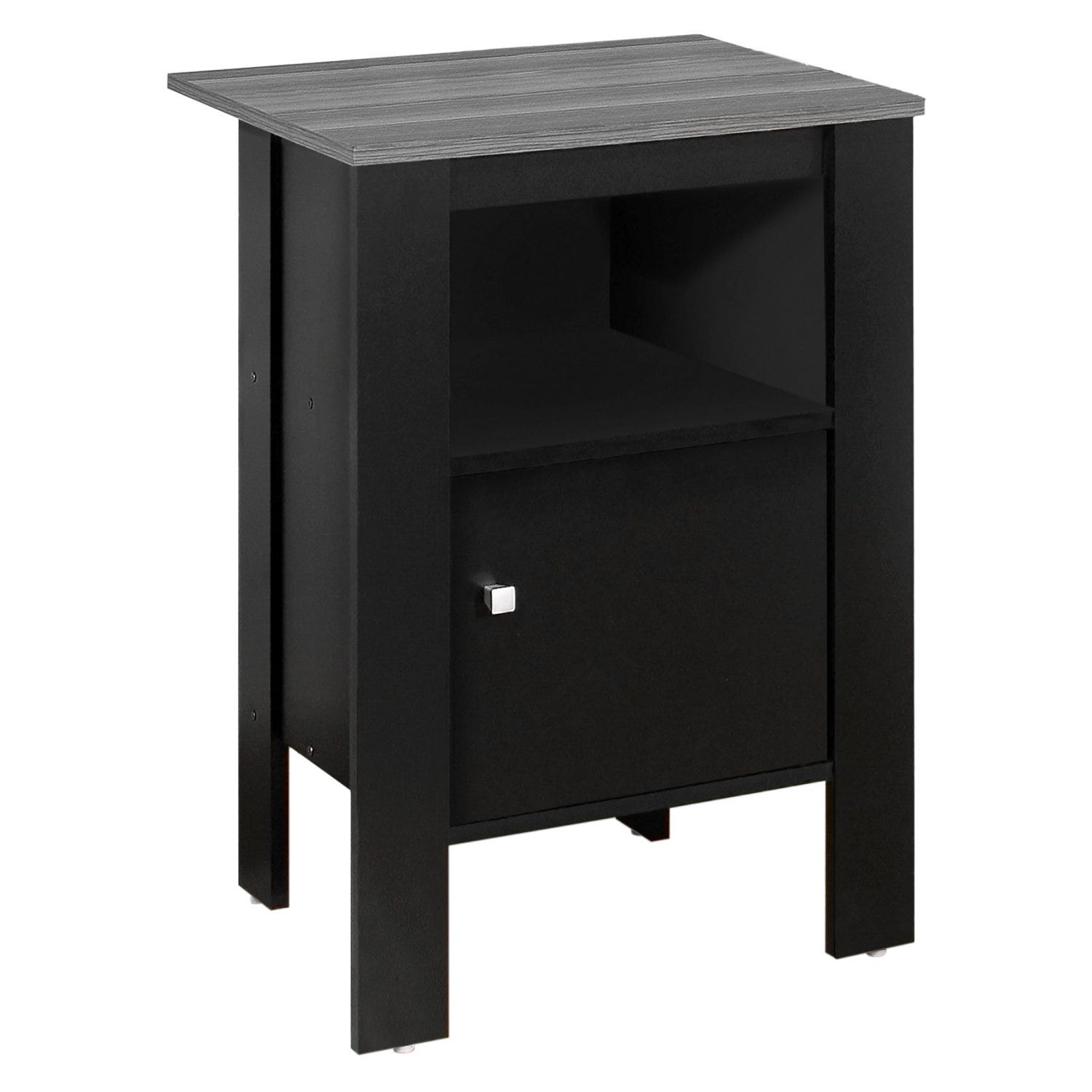 Accent Table Black Grey Top Night Stand With Storage