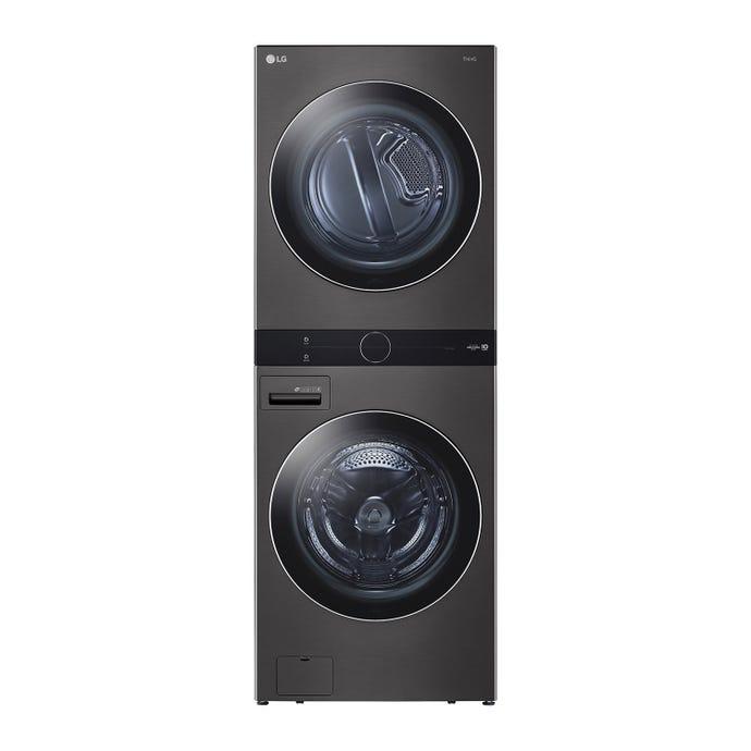 LG stacked washer/dryer, Black steel, 27'', Front-Load, 1300 - WKEX200HBA