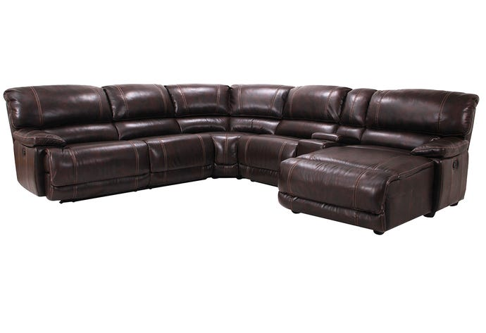 6-Piece Reclining Sectional - Right-Side Chaise & Console