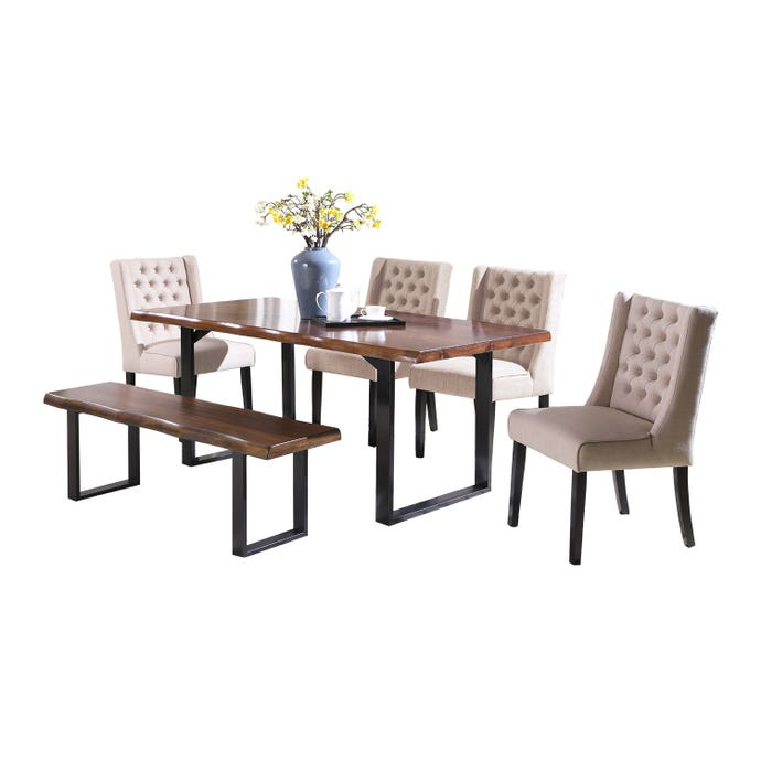 TABLE AND 4 BEIGE CHAIRS