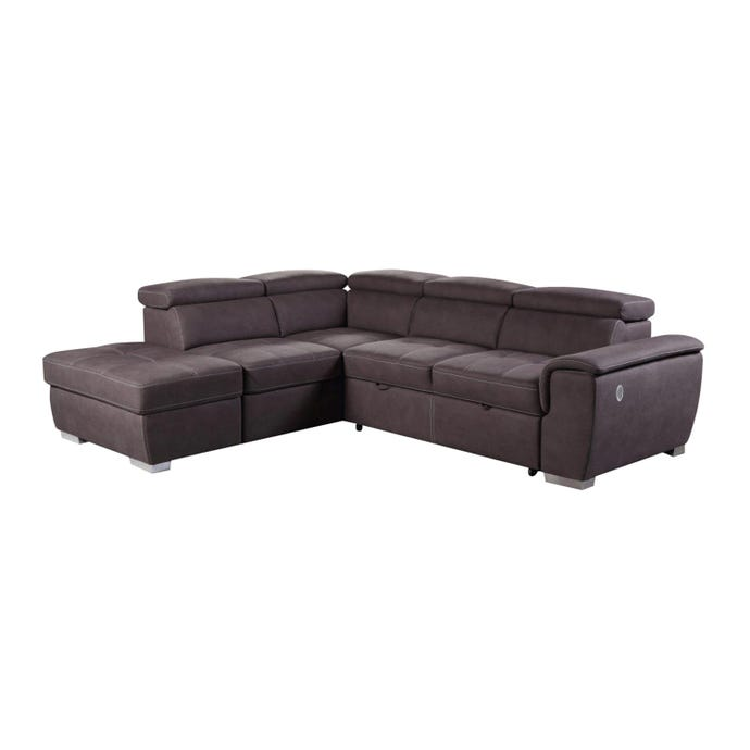 Sectional with loveseat-bed and USB port - Left-Side Chaise