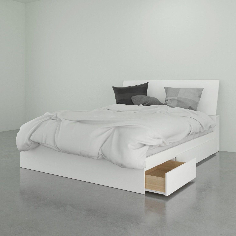Nexera Lit rangement 3 tiroirs + tete de lit, queen | Meubles RD