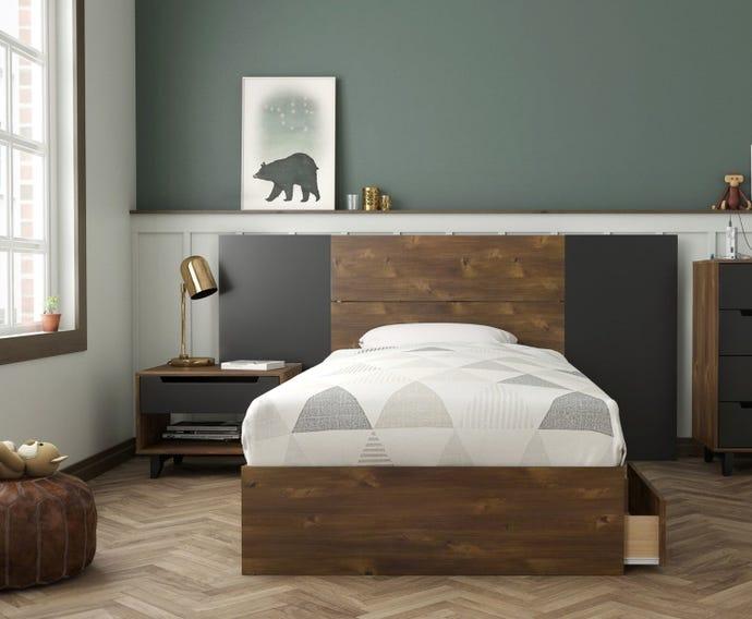 3-DRAWER TWIN STORAGE BED + TWIN HEADBOARD + HEADBOARD EXTENSION PANELS + NIGHT STAND