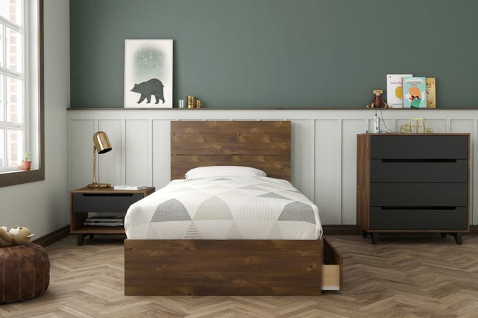 3-DRAWER TWIN STORAGE BED + TWIN HEADBOARD + NIGHT STAND + 4-DRAWER CHEST
