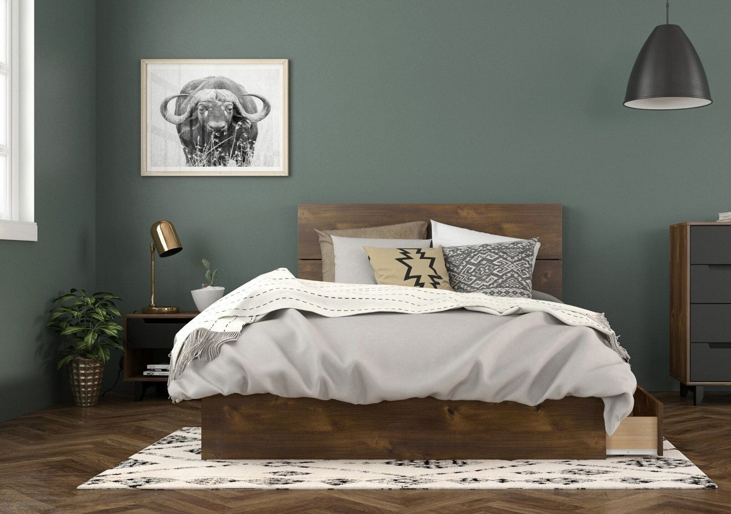 3 Drawer Full Storage Bed Full Size Headboard Night Stand
