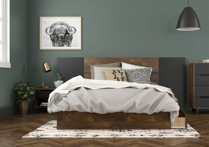 3-DRAWER FULL STORAGE BED + FULL SIZE HEADBOARD + HEADBOARD EXTENSION PANELS + NIGHT STAND