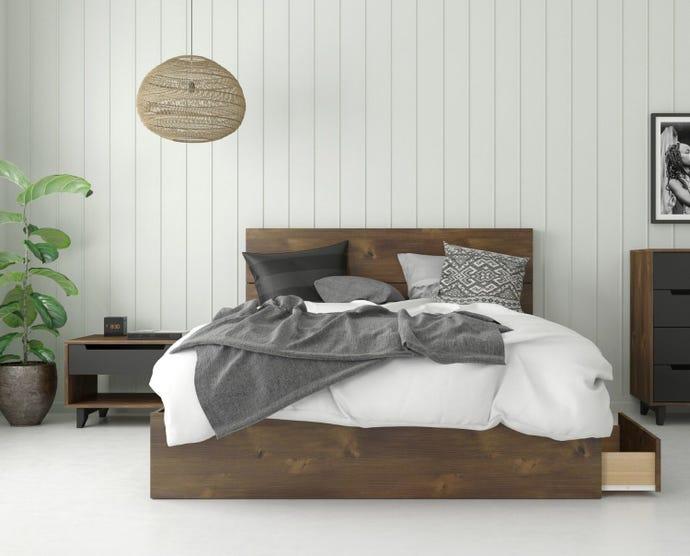 3-DRAWER QUEEN STORAGE BED + QUEEN HEADBOARD + NIGHT STAND