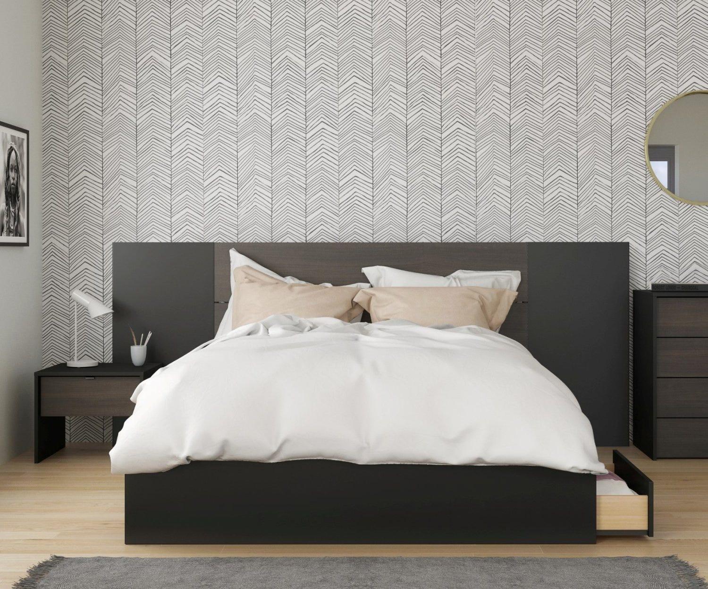 Quito 4 Piece Queen Size Bedroom Set, Ebony & Black