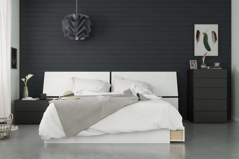 Context 4 Piece Queen Size Bedroom Set, Black & White