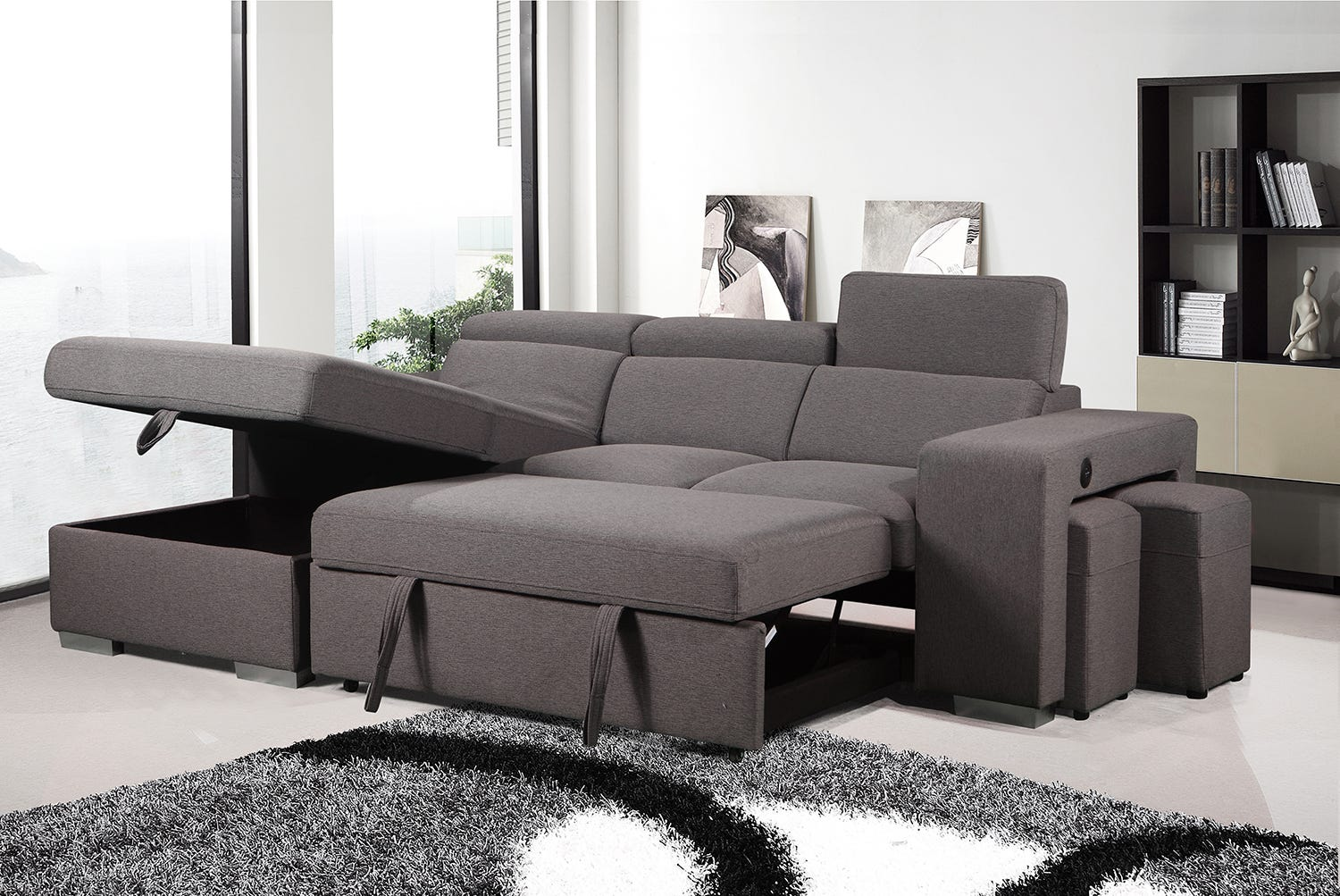 Sectional With Sofa Bed Storage Integrated Ottomans Rd Furniture